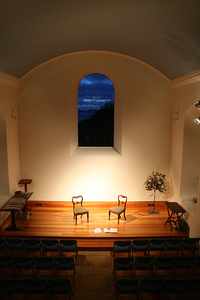 Chapel window with views to Ardnamurachan